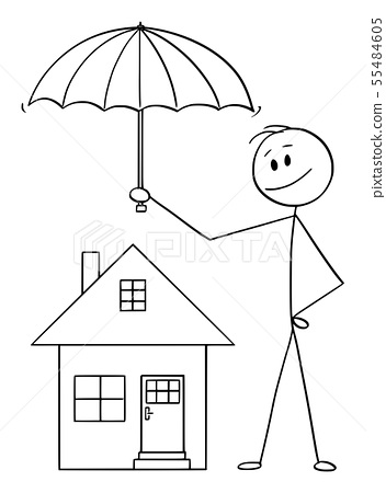 Vector Cartoon of Man, Businessman or Insurance Agent Holding Umbrella Protecting Family House 55484605