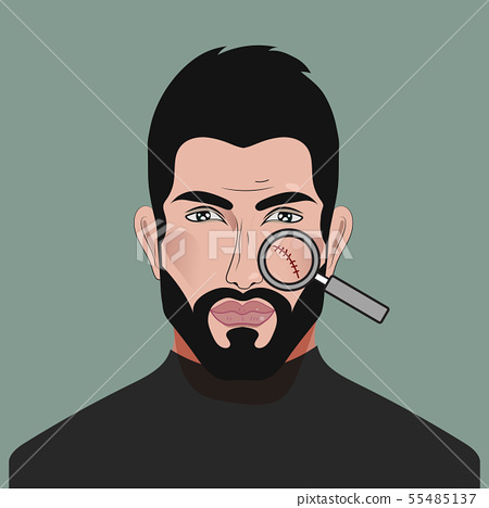 Scar on man face under magnifying glass 55485137