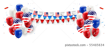 Labor day card design American flag balloons 55485634