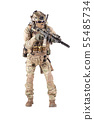 Equipped army soldier aiming rifle studio shoot 55485734