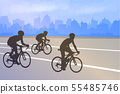 bicyclists silhouettes on the abstract city 55485746