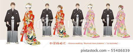 Vector illustration set of a couple who give a divine wedding. Embroidered Haori Zen (Colored Hair, Corner Hidden). 55486839
