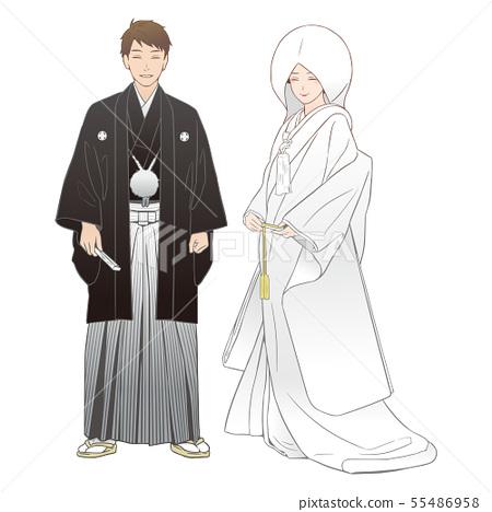 一對夫婦舉行神聖的婚禮。刺繡haori /白色紫紅色(棉帽)。 55486958