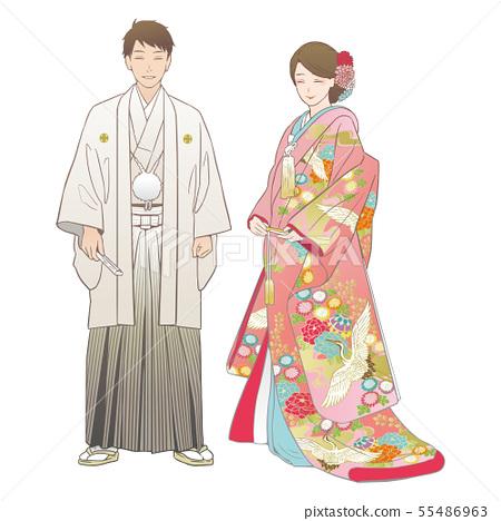 신전 결혼식을 올리는 부부. 문부 겉옷 · 色打掛 (양발). 55486963