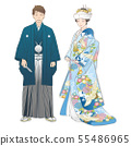 A couple who give a divine wedding. Embroidered Haori Zen and color clasp (corner hidden). 55486965