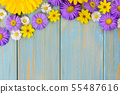 Yellow gerbera, daisy and purple garden flowers on 55487616
