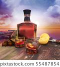 Bottle,glasses,on,table,rum,in,transparent,bottle 55487854