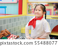 Kid girl in a suit of the little chef make pizza, 55488077