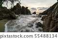 seascape with wave crashing on rocks in scenery 55488134