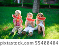 Funny kids eating watermelon outdoors in summer 55488484