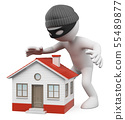 3D white people. Thief stalking a house to steal 55489877