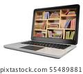 3D Laptop. Digital Library concept 55489881