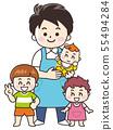 托儿所老师的男孩和孩子 55494284