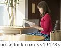 카페 독서 여성 55494285