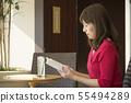 카페 독서 여성 55494289
