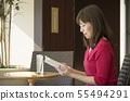 카페 독서 여성 55494291