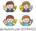 어린이와 동물 인형 55494322