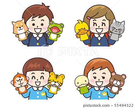 兒童和動物木偶 55494322