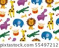 화려한 수채화 동물과 악기의 무늬 55497212