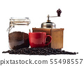 Coffee grinder and empty cup, coffee bean 55498557
