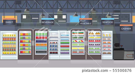 Supermarket interior with goods on shelves. 55500876