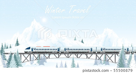Speed train on railway bridge on winter landscape. 55500879