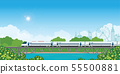 Speed train on railway bridge with forest and city 55500881