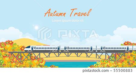 Speed train on railway bridge on colorful autumn 55500883