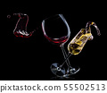Set of wine and champagne glasses on isolated on a black background 55502513