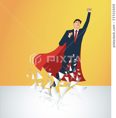 businessman and red cape Breaking the wall  55502609