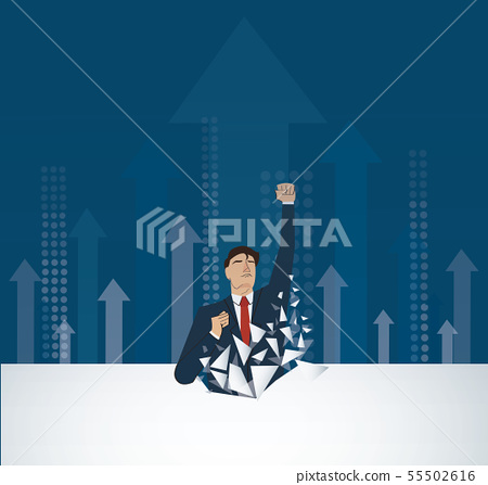 Businessman Breaking the wall 55502616