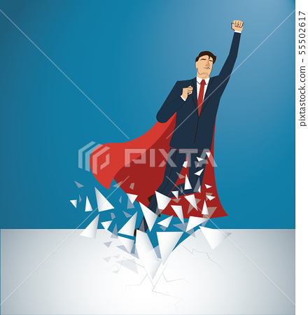 businessman and red cape Breaking the wall  55502617