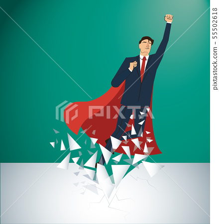 businessman and red cape Breaking the wall  55502618
