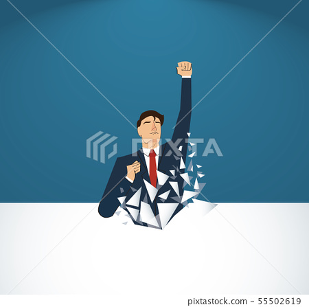 Businessman Breaking the wall 55502619
