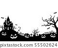 萬聖節/萬聖節背景圖(水平/黑色和白色) 55502624