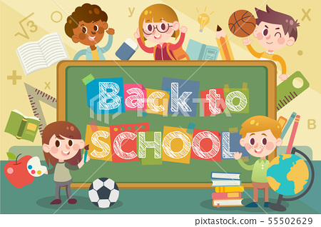 Back to school and blackboard illustration 55502629
