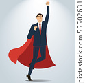 Successful businessman and red cape 55502631