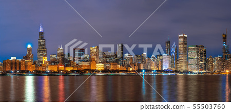 Panorama of Chicago Cityscape river side along Lake Michigan at beautiful twilight time, Illinois, United States, Business Architecture and building with tourist concept 55503760