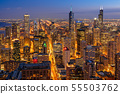 Top view building of Chicago cityscape at the night time, USA downtown skyline, Architecture and building with tourist concept 55503762