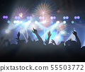 Concert crowd in silhouettes of Music fanclub with show hand action for celebrate with fireworks, happy new year and christmas concept 55503772