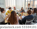 Asian senior manager woman presenting the creative ideas in front of Group Of Asian and Multiethnic Business people while eatting party in the same time in happy action in the modern workplace 55504101