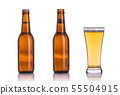 Bottle of beer without cap. Studio shot isolated on white 55504915