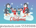 Winter Holiday vector christmas card with smiling cute penguins family 55505606