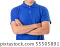 Young Asian man wear blank of blue polo t-shirt 55505891