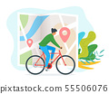 Young man riding bicycle illustration 55506076