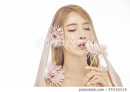 꽃,뷰티,젊은여자 55510114