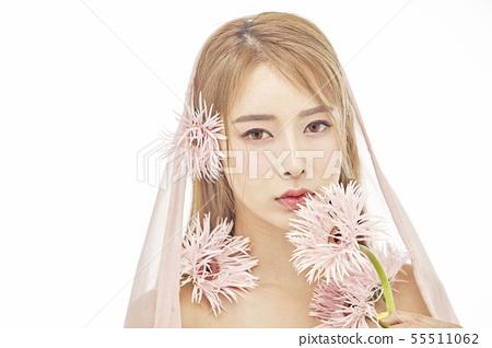 꽃,뷰티,젊은여자 55511062