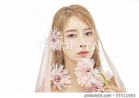 꽃,뷰티,젊은여자 55511063