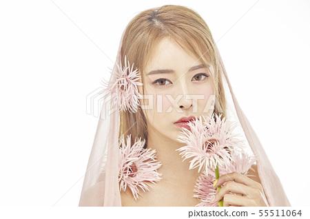꽃,뷰티,젊은여자 55511064