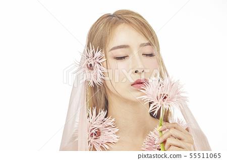 꽃,뷰티,젊은여자 55511065